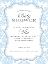 Product Image For Darling Damask Blue and Grey invitation